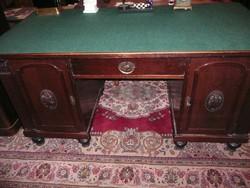 Mérő Jenő féle jelzett, gyönyörű, hibátlan antik szecessziós térbe rakható főnöki íróasztal 1910-ből