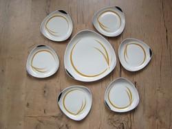 Hollóházi porcelán art deco 6 személyes porcelán süteményes készlet