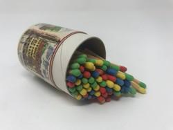 Régi, osztrák, henger alakú gyufásdoboz, emlékgyufa sokszínű gyufával