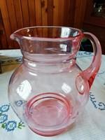 Lazac színű csiszilt öblös üveg kancsó 20 cm magas