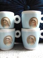 4 db csodaszép Mária arcképes eszpresszó kávés csésze + alj