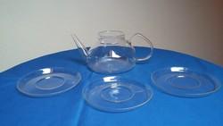 Régi hőálló teáskancsó 3 tányérral - Jéna