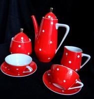 Ritka Hollóházi art deco piros pöttyös mokkás készlet