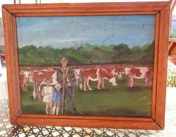 Paraszti  család - idilli festmény - életkép olaj /karton