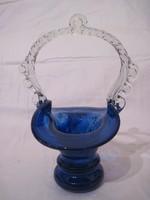Muránói üveg kosár díszüveg kínáló asztalközép 21cm