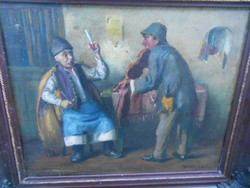 Horváth G. Andor (1876-1966 ) 1920-as évekbeli kocsmajelenet.EREDETI.Garancia.