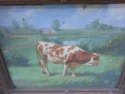 Cisarovsky Antal (20.sz első  fele.)Nyár a legelőn cc.1930.Művészi alkotás, hozzáillő keretben.