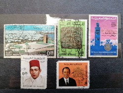 MAROKKÓ 5db használt bélyeg.