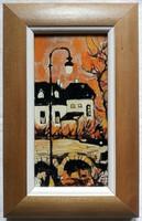 """Fehér Margit """"Alkonyi részlet II."""" c. keretezett tűzzománc ingyenes házhoz szállítással"""