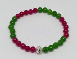 Természetes zöld és vörös jáde karkötő, 6 mm-s gyöngyökből + ajándék fülbevaló
