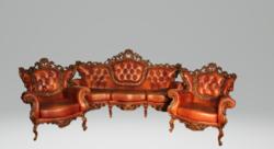 Csodaszép,dúsan faragott barokk chesterfield ülőgarnitúra.