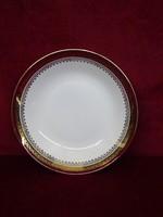 H & C csehszlovák porcelán antik mélytányér bordó/arany szegéllyel.