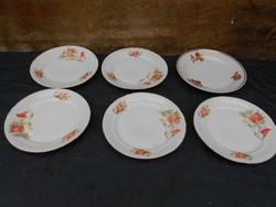 6 db lapos tányér, Zsolnay és JRJS jelzéssel. Törés mentes, fotók szerinti állapotban.