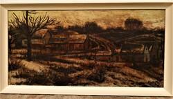 Arató István (1922 - 2010) Faluvége c. Képcsarnokos festménye 106x56cm EREDETI GARANCIÁVAL