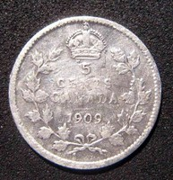 Kanada 5 Cent, 1909 ezüst 0,925/1000 , Edward VII (1902 - 1910) Pointed Leaves Ritkább