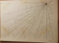 Kassák Lajos : Tus vázlat III. Mérete: 30x43 cm.