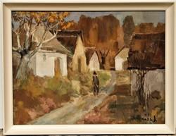 Rozs János (1901 - 1987) Présházak c. Képcsarnokos olajfestménye 86x66cm EREDETI GARANCIÁVAL