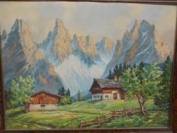 Hinner: Alpesi táj című festménye. Olajfestmény.