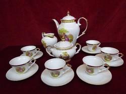 Spanyol  porcelán kávéskészlet, 15 darabos. dúsan aranyozott.
