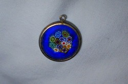 Muránói antik millefiori medál--  az üveg fém szegéllyel