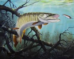 LEÁRAZTAM Csuka horgászat 50x40cm olaj-vászon festmény