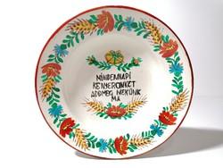 Kézzel festett fali tányér Mindennapi kenyerünket add meg nekünk ma Gránit