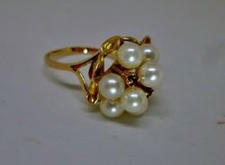 Szépséges  antik gyöngy és valódi rubin  arany gyűrű