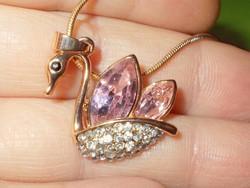 Crystallized Swarovski Elements Hattyú 925 ezüst - 18k Arany GF. Nyaklánc