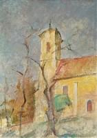 Onódi Béla (1900 - 1991) Szentendre c. olajfestménye 80x60cm EREDETI GRANCIÁVAL !!