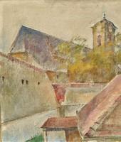 Onódi Béla (1900 - 1991) Szentendre c. olajfestménye 65x65cm EREDETI GRANCIÁVAL !!