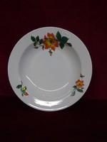 Zsolnay porcelán mélytányér, sárga/narancssárga virággal.