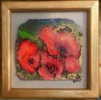 Pipacsok. Parafára festett, domborított aranyozott miniatúra, 19x19cm-es fakeretben. Károlyfi Zsófia