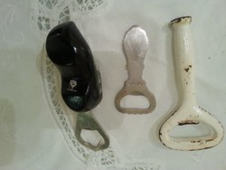 3 sörösüveg bontó  1 antik vastag fém