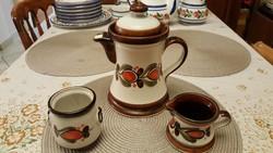 Szépséges, kézzel festett Schramberg kerámia kancsó, tejkiöntő és cukortartó