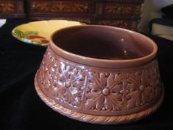 Zsolnay antik , kaspó , hibátla , 5518 forma sz.   átmérő 237 mm x 100 mm magas