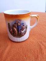 Zsolnay régi porcelán bögre jelenetes