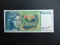 50000 dinár 1988 Jugoszlávia Hajtatlan bankjegy