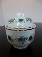 Gyönyörű szeder mintás Hollóházi porcelán bonbonier vagy cukortartó rózsa fogóval