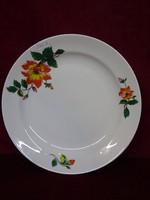 Zsolnay porcelán lapostányér, sárga/narancssárga virágmintával.