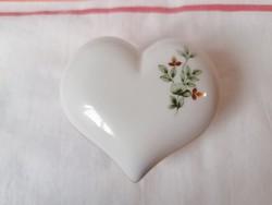 Hollóházi szív alakú Erika mintás bonbonier 7cm