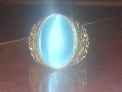 Macskaszem köves cizellált tekintélyes Tibeti ezüst ötvös Gyűrű 8-as