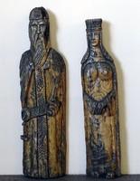 0W567 Szent István és Gizella nagyméretű fafaragás