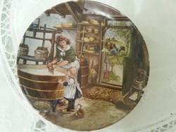 életképpel fali mini tányér porcelánból