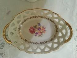 Porcelán asztali mini kínáló áttört kerettel