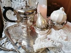 Ezüstözött tea szervírozó készlet