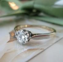 Gyémánt art deco arany gyűrű az 1930-as évekből