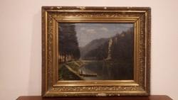 Antik jelzett Osztrák olaj-vászon festmény vadász csónakkal