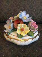 Csodaszép Herendi virágcsokor, dúsan aranyozott talppal - ritka darab!