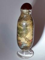 Kínai tubákos parfümös dísz üveg belső festéses