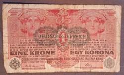 Osztrák Felbélyegzett 1 Korona 1916.